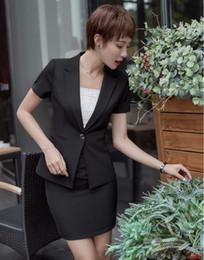 Wholesale Skirt Suit Ladies Formal - Summer Formal Black Blazer Women Business Suits with Skirt and Jacket Sets Ladies Work Wear Uniform Designs