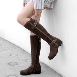 fibbie di stivali al ginocchio Sconti YMECHIC 2018 Buckle Knight Knee High Boots Donna Nero Marrone grosso blocco tacco Donna Scarpe da equitazione donna stivali lunghi Plus Size