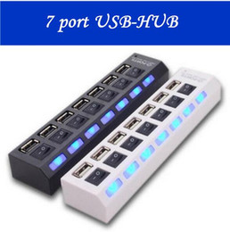 Wholesale Accessories For Computer - Multi LED 7 Ports High Speed USB Hub 2.0 480Mbps Hub USB On Off Switch Portable USB Splitter Peripherals Accessories For Computer
