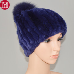 b7c564fab8a New Women Knitted Rex Rabbit Fur Skullies Lady Winter Rex Rabbit Fur Hats  100% Real Natural Big Fox Ball caps