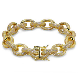 "Wholesale thick gold bracelets - 12MM Hip Hop Iced Out Men Bracelets Gold Silver AAA Cubic Zircon Thick Heavy Copper Material Twisted and Oval Link Bracelet 7""8"""