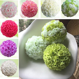 Wholesale Pink Orange Wedding Centerpieces - 5pcs lot dia 15cm artificial Flowers Rose Kissing Balls Pomanders Artificial Flower Ball Centerpieces For Wedding Decorations