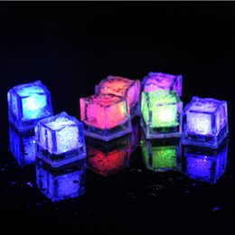 Wholesale Led Ice Cube Multi - Luminous LED Ice Cubes Colorful Touch Sensor Light In Water for Party Christmas Bar Wedding Decoration Supply