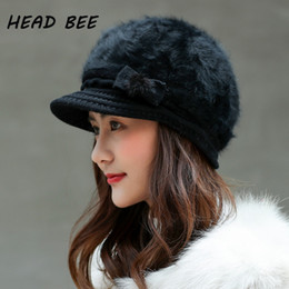 HEAD BEE  Brand Beanies Skillies Cotton Lovely Bowknot Bonnet Hat Warm Knitted  Winter Cap 2017 Women Hat 982ed48c7795