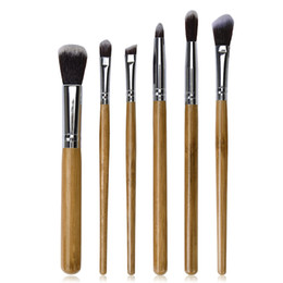 Wholesale Loose Powder Handle Brush - 6pcs Makeup Brushes Set Bamboo Handle Loose Powder Blusher Eyebrow Eyeshadow Lip Brush Pincel Maquiagem Cosmetic Beauty Kit