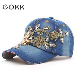 Wholesale paints female jeans - COKK Women's Baseball Cap Diamond Painting Embroidery Flower Denim Snapback Hats Jeans Woman Female Cap Cowboy Summer Sun Hat