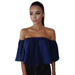 Wholesale ladies half sleeve chiffon tops - Wholesale- Summer Blouse Shirts Women Half Sleeve Slash Neck Soild Shirt Strapless Off Shoulder Blouses Ladies Top