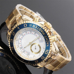 Wholesale Big Analog Clock - relogio masculino 45mm mens watches top brand luxury Designer automatic White dial full gold stainless steel male clock big watch for men