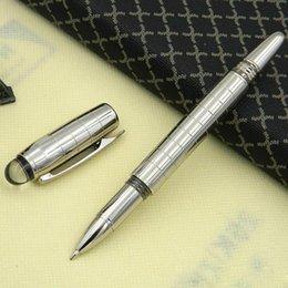 2019 penna di anguria Commercio all'ingrosso - Penne a sfera Roller HOT di lusso Silver Checker M Penne a sfera roller in metallo Crytal Top + 1 ricariche per penne gratuite