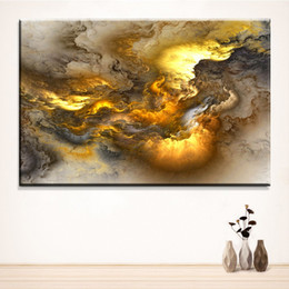 Wholesale Oil Painting Framed Abstract Yellow - Large sizes Wall Art Prints Fine Art Prints Abstract oil Painting Wall Decor Yellow Painting for Print Wall picture no frame No frame