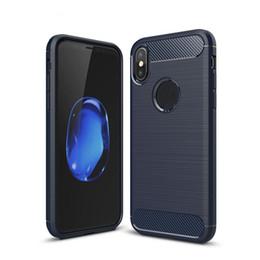 Caso do carbono do iphone 5s on-line-Fibra De carbono case para iphone x 6 6 s 7 8 plus 5 5S se textura de luxo escovado silicone borracha macia tampa traseira slim armadura sca468