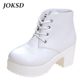 heel white punk Coupons - JOKSD Women Boots 2017 New Fashion Black&White Punk Rock Lace Up Platform Heels Ankle Boots thick heel platform shoes X54