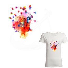 Wholesale Peacock Stickers - Multicolor peacock 20.6*16.6cm Iron On Patches DIY girls T-shirt jacket Grade-A Thermal transfer stickers