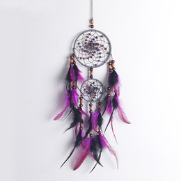 Wholesale Purple People - Handmade Dream Catcher Pendant Wall Hanging Feather Dreamcatcher Car Decoration Craft Gift Purple New Arrive 12 5xr CY