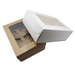 Pantalla de plástico online-60 unids / lote DHL 24 * 15.5 * 7.5 cm Caja de embalaje de galletas Macaron del favor de partido con caja transparente de plástico de la exhibición de la magdalena de la ventana