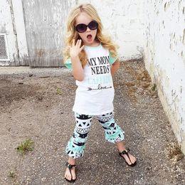 Canada Costume D'été Pour Enfants 2018 Nouvelle Arrivée À Manches Courtes Costume Élégant Casual Lettre T-shirt + Pantalon Deux-pièces pour Kid Filles cheap elegant summer shirts Offre