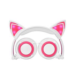 Argentina Auriculares de dibujos animados para niños Orejas de gato Montados en la cabeza Luminoso plegable Teléfono móvil Auriculares de música para el regalo de los niños Suministro