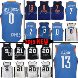 6e0ec84c3 Top qualité 13 Paul George 0 Russell Westbrook 7 Maillot Carmelo Anthony 9  Tony Parker 20 Ginobili 21 Tim Duncan 5 Dejounte Murray Maillots