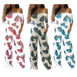 Wholesale Wide Leg Pants Trousers Jumpsuits - New Women Jumpsuits Fashion sexy slash neck off shoulder Rompers Ruffle Wide Leg Pants boho Floral print Lady Bodysuit Trousers