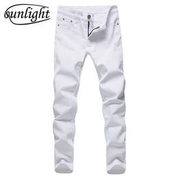 Wholesale Denim Jeans 27 - 2017 Men Stretch Jeans Fashion White Denim Trousers For Male Spring And Autumn Retro Pants Casual Men 'S Jeans Size 27 -36