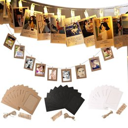 Wholesale Led Lights Photo Frames - Upgraded 40 LED Photo Clip String Lights And 40 pcs 3''Inch Paper Photo Frame , Remote Control, USB Battery Powered, Timer , Party