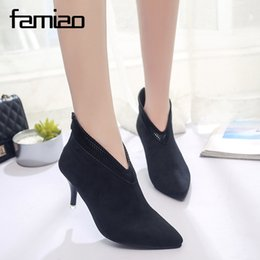 cusp shoes Promo Codes - black Women Shoes Slip-On Retro High Heel Ankle Boot Elegant Cusp England Casual Short Boots Female Pointed Toe Stiletto Shoes