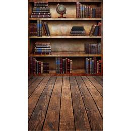 pano de fundo de vinil Desconto Temporada de formatura Vintage estante de livros Fotografia Backdrop vinil Digital livros impressos Retro estilo crianças crianças foto fundos assoalho de madeira