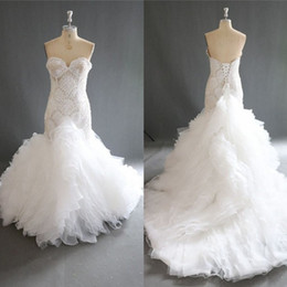 Wholesale Work 16 - Amazing Mermaid Wedding Dresses 2018 Summer Beaded Sweetheart Bridal Gowns Lace Up Back Tiered Sweep Train Wedding Vestidos 100% Real Work