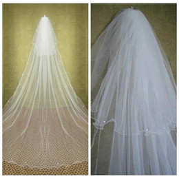 Wholesale Rhinestone Chapel Length Veils - Elegant Two Tiers Layer Beaded Crystal Long Wedding Veils Cathedral Vintage Bridal Veils Bridal Hair Accessories With Comb Rhinestone Beaded