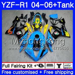 99 ninja zx7r Desconto Tubarão Azul Corpo + Tanque Preto Para YAMAHA YZF R 1 YZF-1000 YZF 1000 YZFR1 04 05 06 232HM.2 YZF1000 YZF-R1 04 06 YZF R1 2004 2005 2006 Carenagem