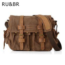 Wholesale Crazy Shoulders - RU&BR Canvas Bags With Crazy Horse Leather Men's Shoulder Bag Vintage Business Fashion Messenger Bags Crossbody Men's Briefcase