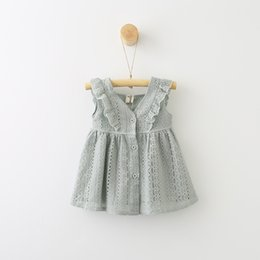 Wholesale Dress Summer Lace Breast - ins summer girls lace vest dresses kids flouncing cotton dresses girls Single breasted hollow out party dresses 3colors choose free ship
