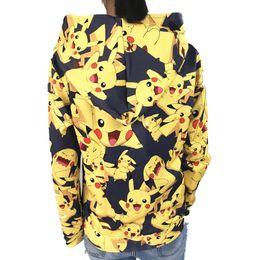 Wholesale anime pikachu hat - Men Women Anime Go pikachu full printing Hoodie Coat Cosplay Costume Sweatshirts Jacket