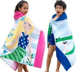Wholesale Quick Dry Medium - Large Size Mermaid Shark Printed Cotton Beach Towel 2018 Baby Children Hooded Bath Towel Baby Boys Girls Cartoon Bath Soft Towel for Baby