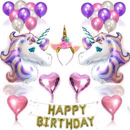 Wholesale aluminum items - Star Purple Unicorn Aluminum Balloons Kids Toys Home Decor Balloon Xmas Wedding Party Hang Decoration Gifts Items 29pq Y