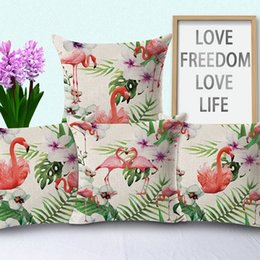 Wholesale Embroidered Sofa Fabrics - New Pillow Case 4 Styles Hot Green Broadleaf Flamingo Cotton Pillow Fabric Sofa Seat Lumbar Pillow Bed Decoration Cushion Cover