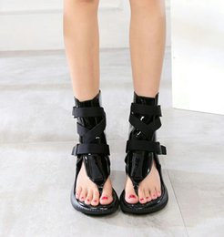Wholesale Thick Sole High Heel Boots - Rome pinch cool boots with thick soles muffin buckle sandals help female high Summer Edition Leather Flat