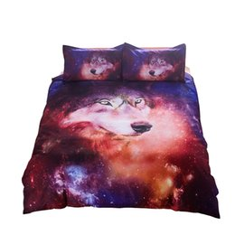 Wholesale wolf bedding sets - 3D Colorful Reactive Printed Galaxy Wolf Skull Bedding Set Twin Queen King Size Duvet Cover Pillowcase Bed Linens Bedding Sets