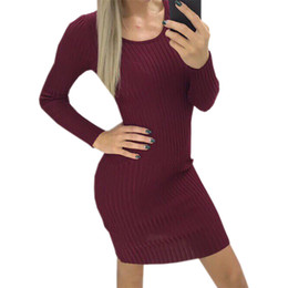Deutschland Festes gestricktes Frauen-Minikleid 2018 neuer Herbst O-Ansatz reizvolle warme bodycon Kleider Mujer Winter-lange Strickende Robe Plus Size supplier plus size knit bodycon dresses Versorgung
