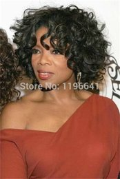 Wholesale brown hair celebrities - brown culry indian remy human hair lace front wig Oprah whintey celebrity Short full lace human hair wigs