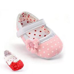 Wholesale baby flower tie shoes - New Baby Newborn Infant Cute Girls Shoes 0-12M prewalker spring baby girls flower shoes soft sole toddler crib shoes