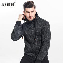 Wholesale Double Jack - Jack Cordee New 2017 Autumn Winter Fashion Hoodies Men Double Zipper Slim Sweatshirts Male Solid Casual Hooded Jacket