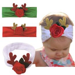 Hirschgeweih stirnband online-Baby-Weihnachtsweihnachten Stirnband-Elastizität-Säuglingsgeweihe Rosen-Haarband scherzt Haar-Zusatz-Weihnachtskopfschmuck