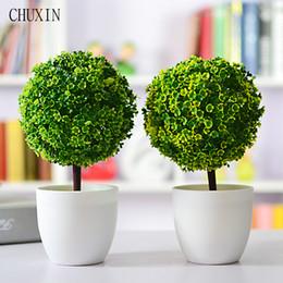 Wholesale Decorative Vase Floor - Artificial Plants Ball Bonsai Fake Tree Decorative Green Plants For Home Decoration Garden Decor 4 Colors 1 set ( plants+vase)