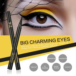 Wholesale full thickness - New China Brand HUAMIANLI Eyeliner Pencil 2 colors Black Dark Brown waterproof Thickness Control Eye liner High quality DHL free shipping