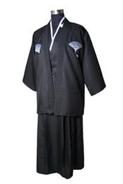 502ab07f36 New Black Japanese Men s Cotton Warrior Kimono With Obi Traditional Yukata  Novelty Stage Costume Dropshipping One Size JK053