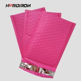 Wholesale pink poly mailers - 204x280+40mm Plastic poly bubble mailer padded bags Pink color Superior cushioning strong plastic shockproof Express Courier pouchs