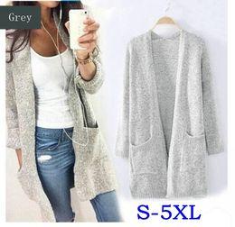 Wholesale Plus Size Sweater Coat - New autumn winter grey long sleeve loose casual sweater coat cardigan coat women outwear plus size S-5XL