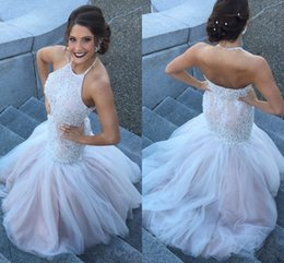 Wholesale Halter Lace Prom Dress Blush - White Blush Mermaid Prom Dresses Halter Pearls Beaded Lace Tulle Satin Backless Pageant Dresses Formal Evening Gowns