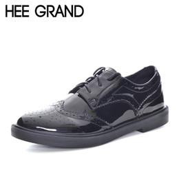 56af8ce44 Hee grand couro de patente retro sapatos oxford mulheres estilo britânico  boi lace-up esculpida apartamentos xwd6018